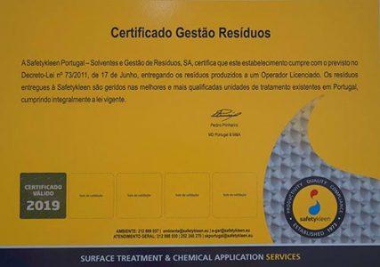 Certificado Gestão Residuos